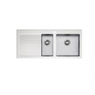 Neko Lux Sink 1110x520mm with Tempered White Glass Top 1+1/2 Right Hand Bowl 1TH Satin SS