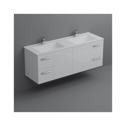 Locus 1500mm Vanity Wall Hung 2-Centre Door 2x2-Drawers Gloss White Cabinet Only