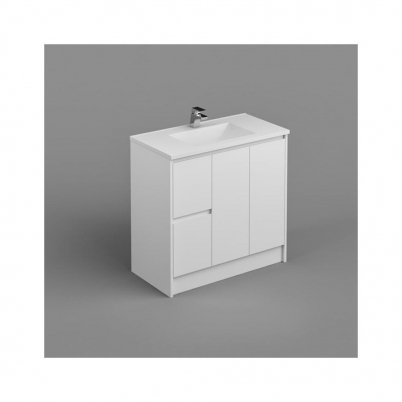 Sense Deluxe Vanity+Kick 900mm 2-Door 2-L/H Drawers Gloss White Cabinet Only