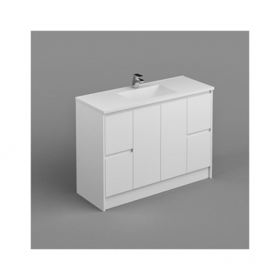 Sense Deluxe Vanity+Kick 1200mm 2-Centre Door 2x2-Drawers Gloss White Cabinet Only
