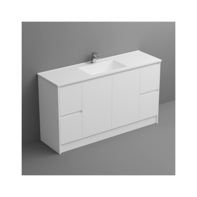 Sense Deluxe Vanity+Kick 1500mm 2-Centre Door 2x2-Drawers Gloss White Cabinet Only