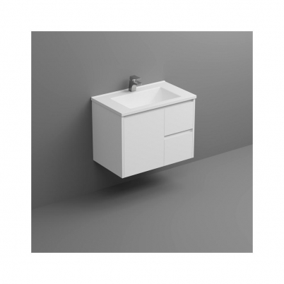Sense Deluxe W/H Vanity 750mm 1-Door 2-R/H Drawers Gloss White Cabinet Only