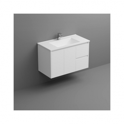 Sense Deluxe W/H Vanity 900mm 2-Door 2-R/H Drawers Gloss White Cabinet Only