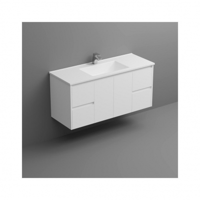Sense Deluxe W/H Vanity 1200mm 2-Centre Door 2x2-Drawers Gloss White Cabinet Only