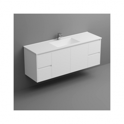 Sense Deluxe W/H Vanity 1500mm 2-Centre Door 2x2-Drawers Gloss White Cabinet Only