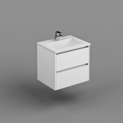 Neo Deluxe W/H Vanity 600mm Dbl Drawer Finger Pull Soft Close PU Gloss White Cabinet Only
