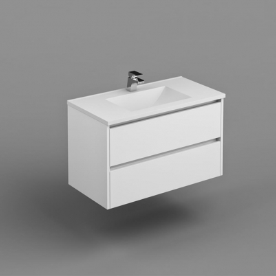 Neo Deluxe W/H Vanity 900mm Dbl Drawer Finger Pull Soft Close PU Gloss White Cabinet Only