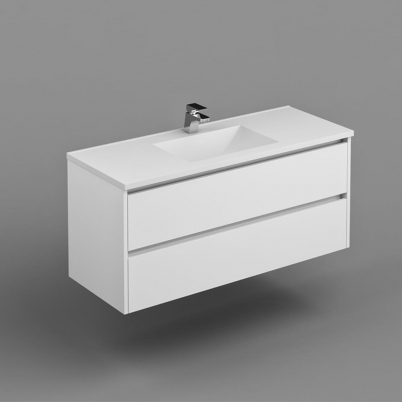 Neo Deluxe W/H Vanity 1200mm Dbl Drawer Finger Pull Soft Close PU Gloss White Cabinet Only