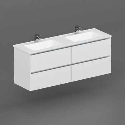 Neo Deluxe 1500mm Vanity Wall Hung 2x2 Drawer Finger Pull Soft Close Gloss White Cabinet Only