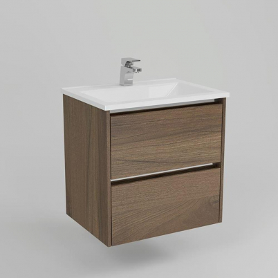 Neo Deluxe W/H Vanity 600mm Dbl Drawer Finger Pulll Soft Close Dark Elm Cabinet only