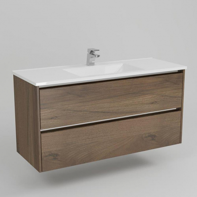 Neo Deluxe W/H Vanity 1200mm Dbl Drawer Finger Pulll Soft Close Dark Elm Cabinet Only