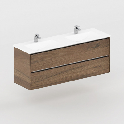 Neo Deluxe 1500mm Vanity Wall Hung 2x2  Drawer Finger Pull Soft Close Dark Elm Cabinet Only