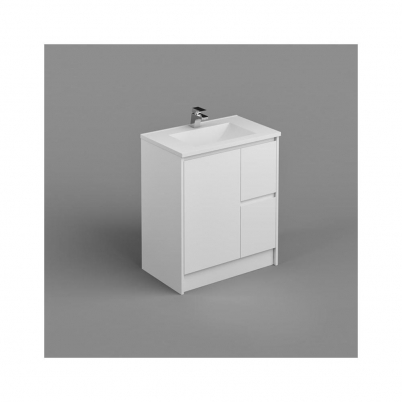 Seirra Vanity+Kick 750mm 1-Door 2-R/H Drawers Gloss White Cabinet Only
