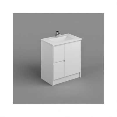 Seirra Vanity+Kick 750mm 1-Door 2-L/H Drawers Gloss White Cabinet Only