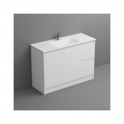 Seirra Vanity+Kick 1200mm 2-Door 2-R/H Drawers Gloss White Cabinet Only