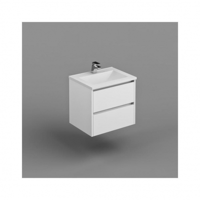 Inspire W/H Vanity Cabinet Only 600mm Dbl Drawer Finger Pull Soft  PU Gloss White