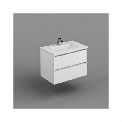 Inspire W/H Vanity Cabinet Only 750mm Dbl Drawer Finger Pull Soft Close PU Gloss White