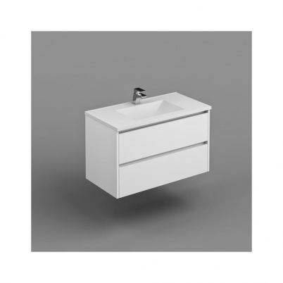 Inspire W/H Vanity  Cabinet Only 900mm Dbl Drawer Finger Pull Soft Close PU Gloss White