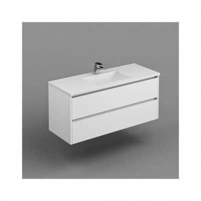 Inspire W/H Vanity  Cabinet Only 1200mm Dbl Drawer Finger Pull Soft Close PU Gloss White