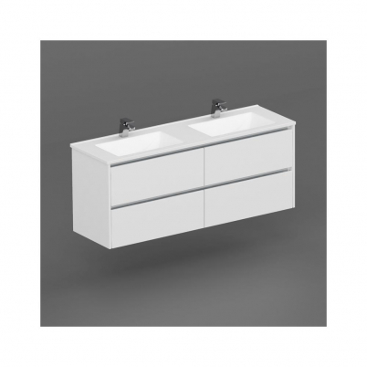 Inspire W/H Vanity 1500mm 2x2 Drawer Finger Pull Soft Close PU Gloss White Cabinet Only
