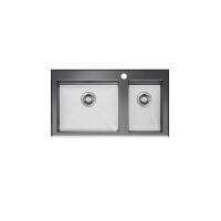 Neko Lux Sink 860x520mm with Tempered Black Glass Top 1+1/2 Bowl 1TH Satin SS