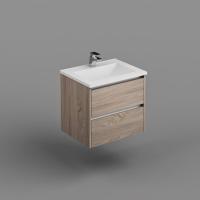 Neo Deluxe W/H Vanity 600mm Dbl Drawer Finger Pull Soft Close Elegant Oak Cabinet only