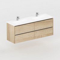 Neo Deluxe 1500mm Vanity Wall Hung 2x2 Drawer Finger Pull Soft Close Elegant Oak Cabinet only