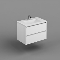 Neo Deluxe W/H Vanity 750mm Dbl Drawer Finger Pull Soft Close PU Gloss White Cabinet Only