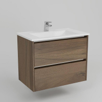 Neo Deluxe W/H Vanity 750mm Dbl Drawer Finger Pulll Soft Close Dark Elm Cabinet Only